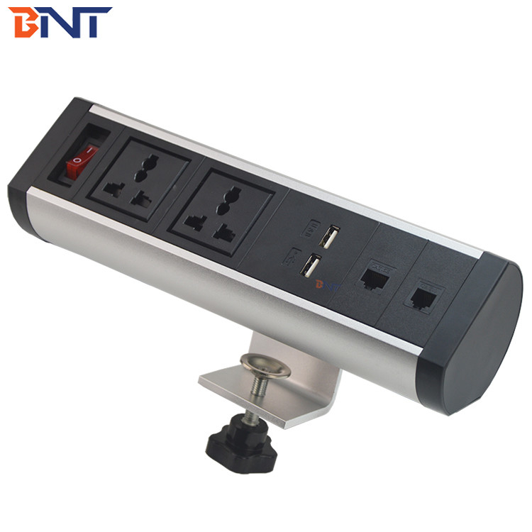 clamp on desktop socket with double universal power socket  BTS-402S