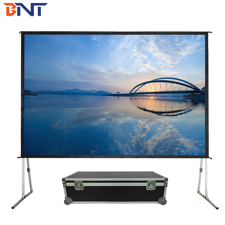 with outdoor flight case 100inch fast fold projection screen used in outdoor supplier