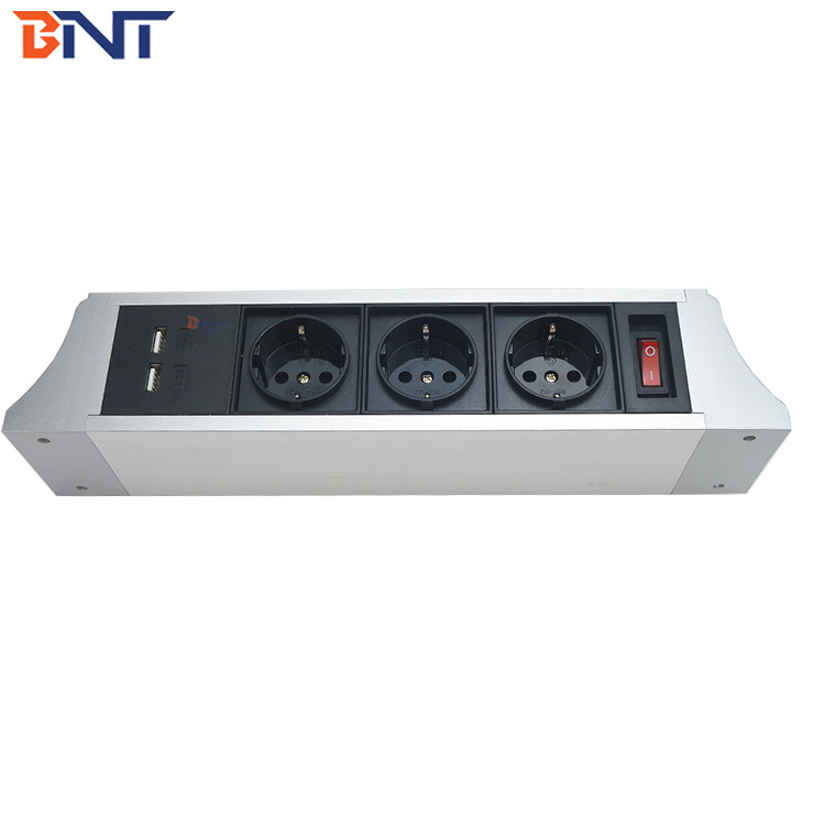 high quality with double usb charger interface hanging desk power socket supplier