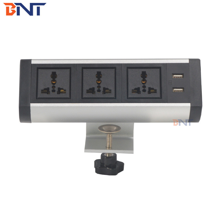 new design used in  audio system furniture movable table outlet clamp on desk power socket
