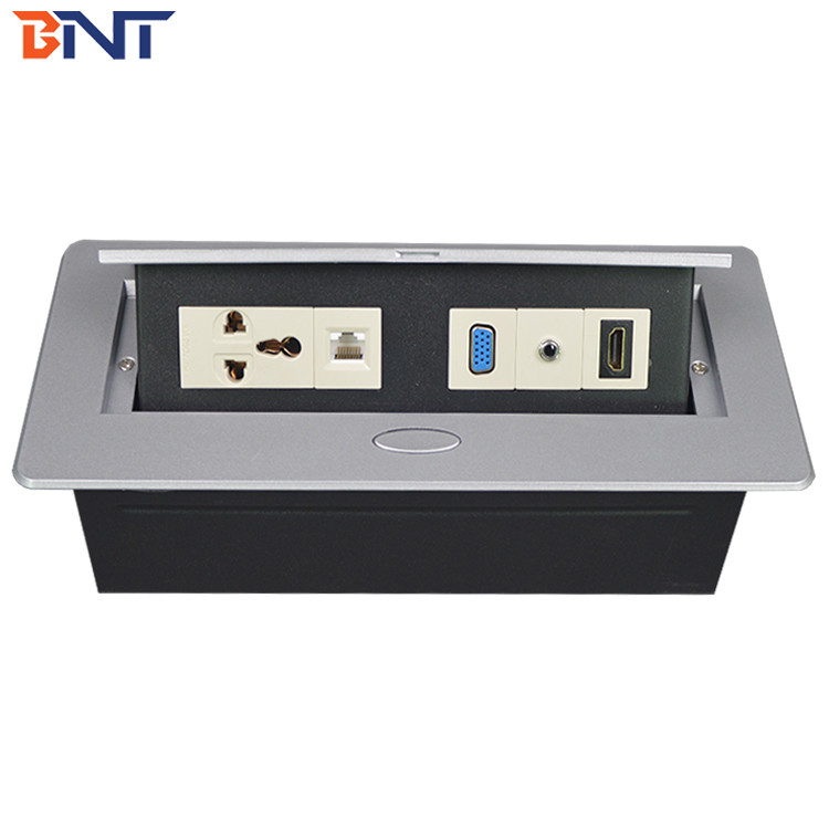 air support push pop up desktop power socket/ concealed electric socket box for furniture/ office table socket box