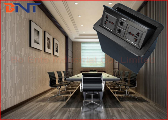 Office Conference Desktop Power Sockets Aluminum Alloy Brushed With Network