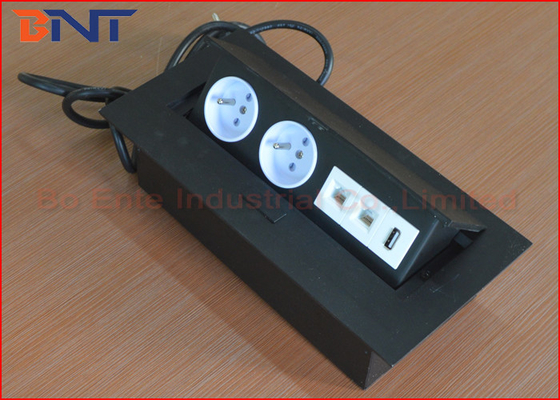 EU Standard Desk Pop Up Sockets Black Color With USB Network Outlet