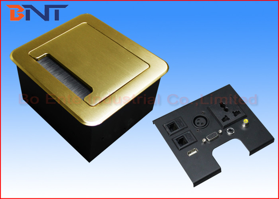 Gold Tabletop Flip Up Power Outlet , Compact Manual Conference Table Power Outlets