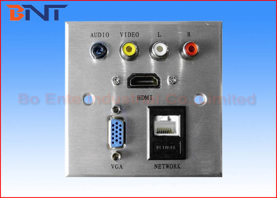 Silver Wall Socket Plates Square Corner For Hotel Media Solutions