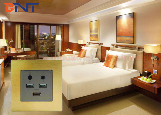 Champagne Flush Mount HDMI USB Smart Wall Socket Plates With Bluetooth